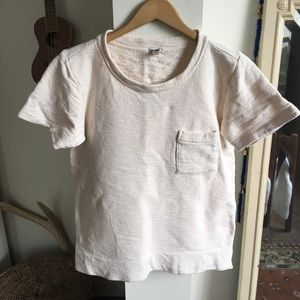 J Crew Cream Short-Sleeved Sweatershirt
